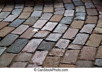 Cobblestone Street - Close-in image of a cobblestone street ...