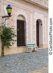 Cobblestone street in historic quarter of Colonia del Sacramento, Uruguay