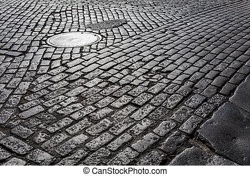 Cobblestone Street - Old cobblestone street from New York...