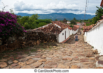 Cobblestone streets in the colonial village of Guane, Santander, Colombia