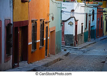 Cobblestone streets of San Miguel de Allende, Spanish colonial town in Mexico.