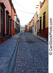 Cobblestone streets, San Miguel de Allende, Mexico - ...