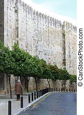 cobblestone ulice, do, alfama, portugalsko
