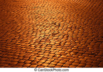 Cobblestones at night - Perspective on cobblestones at night