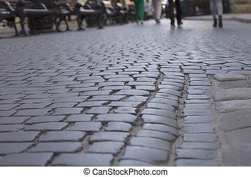 Cobblestones at the square in Lviv