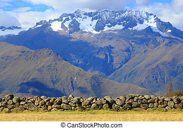 cobblestones on the background of mountains