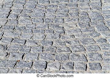 Cobblestones on the road