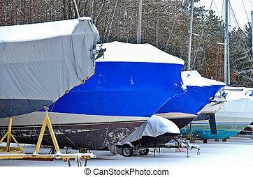 coberto, barcos, em, neve