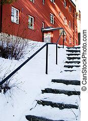 coberto, escadas, neve