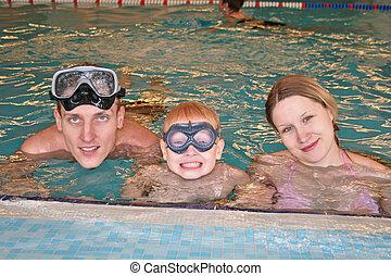 coberto, família, piscina