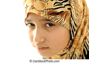 coberto, menina, muçulmano, triste