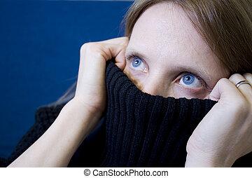 coberto, menina, rosto, parcialmente