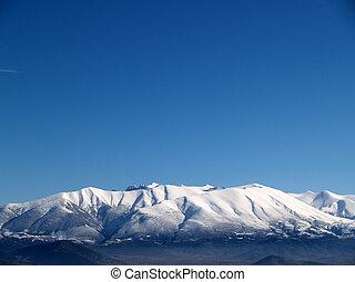 coberto, montanha, neve, olympus, grécia