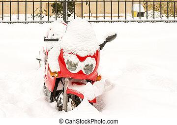 coberto, neve, vermelho, motocicleta