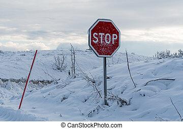 coberto, parada, neve, sinal