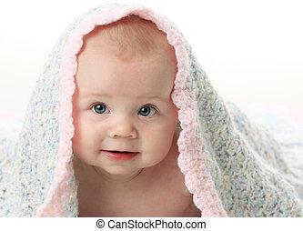cobertor bebê, bonito, sob