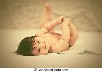 cobertor, bebê, lar, menina, mentindo, feliz