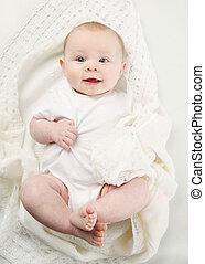 cobertor, closeup, bebê, retrato, branca, adorável, mentindo