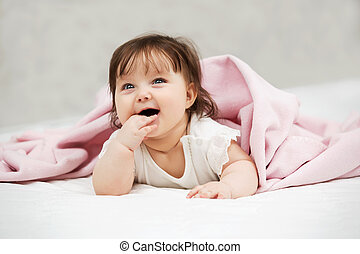 cobertor, retrato, bebê, lar, menina, mentindo
