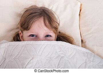 cobertor, saída, olha, criança