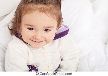 cobertor, sob, bebê, branca, menina, escondendo