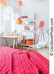 cobertor, vermelho, cama