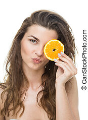 cobertura, a, olho, com, laranja