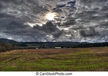 cobertura, através, sol, campo, nuvem escura, vazio, nublado, estourar, capim