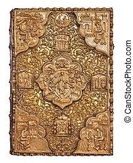 cobertura, dourado, bíblia