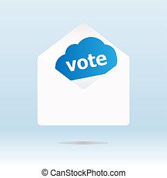 cobertura, envelope, com, voto, texto, ligado, azul, nuvem
