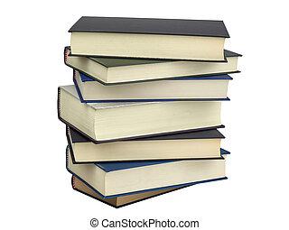 cobertura, livros, difícil, pilha, isolado