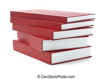 cobertura, livros, difícil, vermelho
