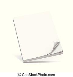 cobertura, negócio, branca, livro, isolado, branco