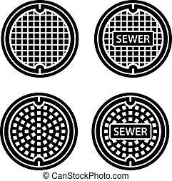 cobertura, símbolo, esgoto, pretas, manhole