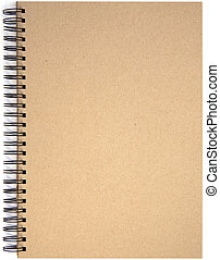 cobertura, salto espiral, almofada nota, em branco, primeira página, vazio