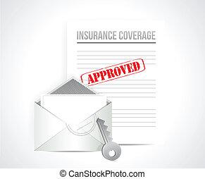 cobertura seguro, aprovado, conceito