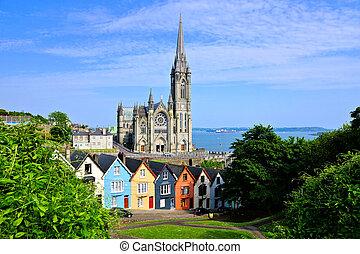 cobh, coloridos, cortiça, município, casas, fundo, irlanda, catedral, fila