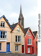 cobh, terraplenar, houses., irlanda