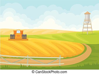 Cobine and pumping station in the field. Vector illustration on white background.