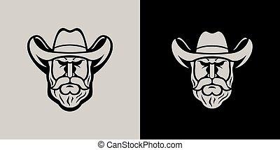 Coboy head mascot line art logo