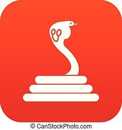 cobra, ícone, vermelho, digital