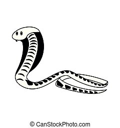 Cobra african snake in black and white