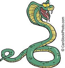 cobra, caricatura, serpiente