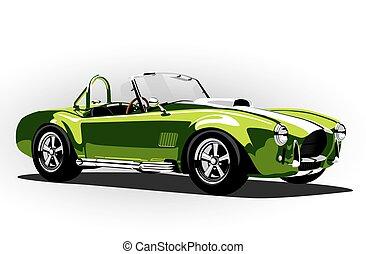 cobra, carro clássico, verde, desporto, roadster