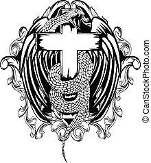 cobra, com, crucifixos
