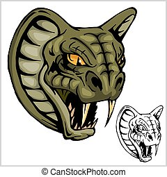 Cobra Head Mascot - vector illustration isolated on white