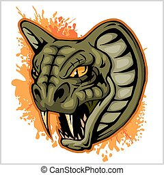 Cobra Head Mascot - vector illustration on a grunge...