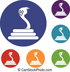 Cobra icons set
