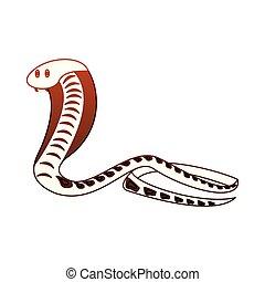 cobra, linhas, cobra, vermelho, africano