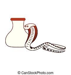 cobra, linhas, vaso, animal, selvagem, vermelho